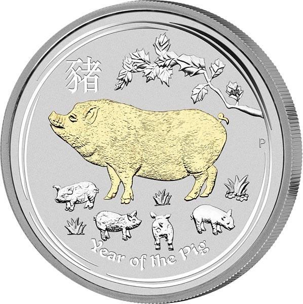 1 Unze Silber Australien Jahr des Schweins 2019 mit Gold-Applikation