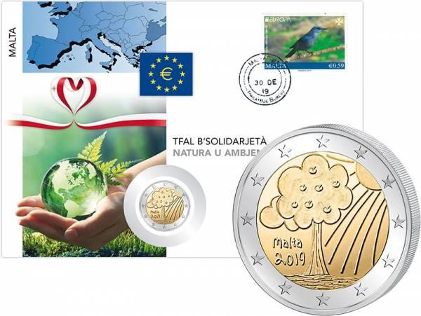 2 Euro Numisbrief Malta Von Kindern mit Solidarität - Natur und Umwelt 2019