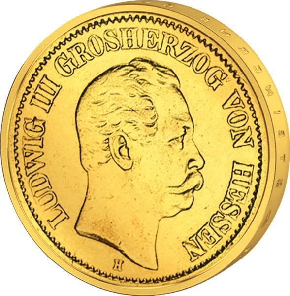 10 Mark Gold Hessen Ludwig III. 1875-1877 Sehr schön