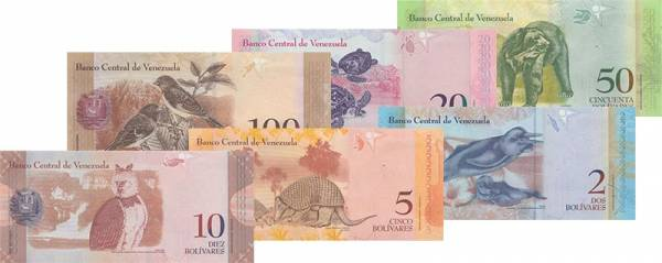 2 - 100 Bolivares Venezuela Banknoten verschiedene Jahrgänge