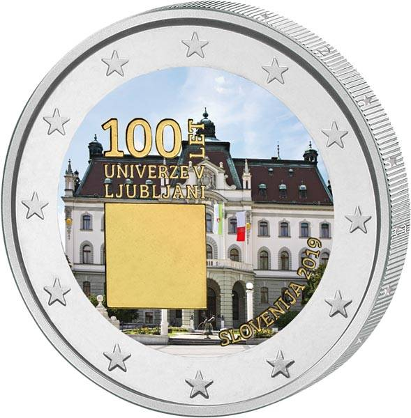 2 Euro Slowenien 100. Jahrestag der Gründung der Universität von Ljubljana 2019 mit Frab-Applikation