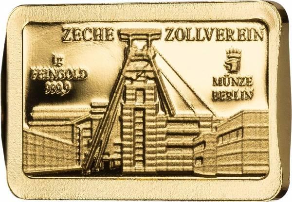 1 Gramm Goldbarren Deutsche Wahrzeichen Zeche Zollverein