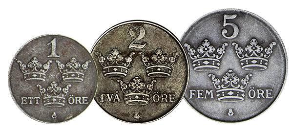 1 - 5 Öre Schweden Notgeld-Satz der Nachkriegszeit 1942-1950