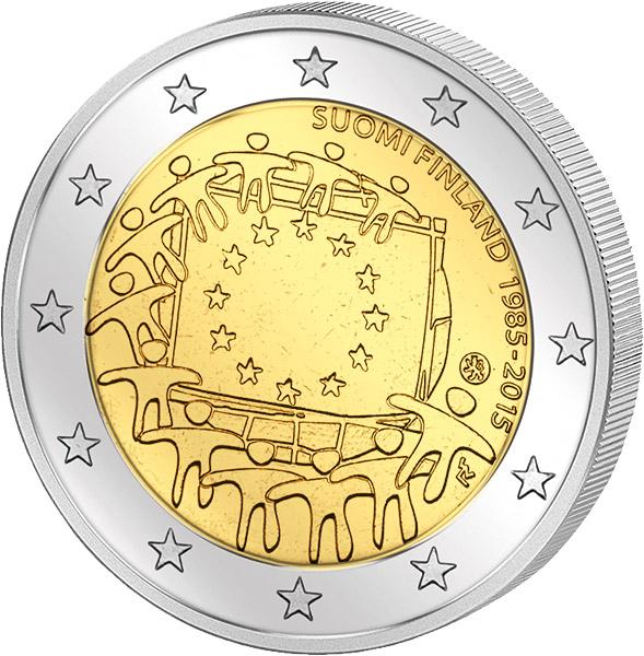 2 Euro 30 Jahre Europaflagge Gemeinschaftsausgabe Aller Länder 2015