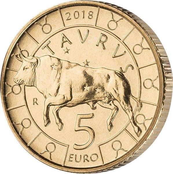 5 Euro San Marino Tierkreiszeichen Stier 2018