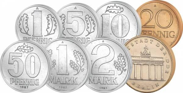 1 Pfennig - 5 Mark Kursmünzensatz DDR 1987-1988 JuW