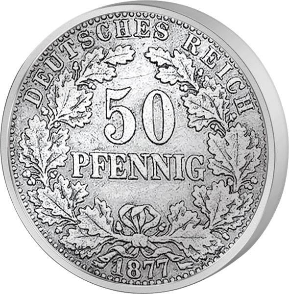 50 Pfennig Deutsches Kaiserreich Eichenkranz 1877-1878 s-ss