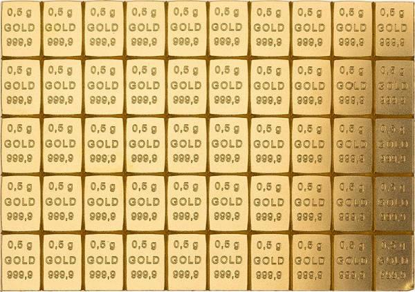 50 x 0,5 Gramm Goldbarren Knickbarren