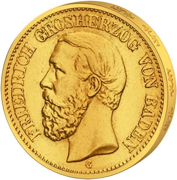 20 Gold-Mark Baden Großherzog Friedrich I. 1894-1895 ss - vz