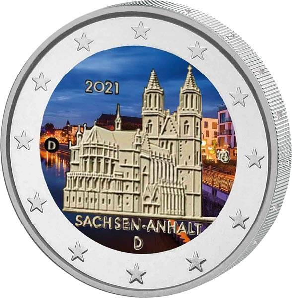 2 Euro BRD Sachsen-Anhalt - Magdeburger Dom 2021 mit Farb-Applikation