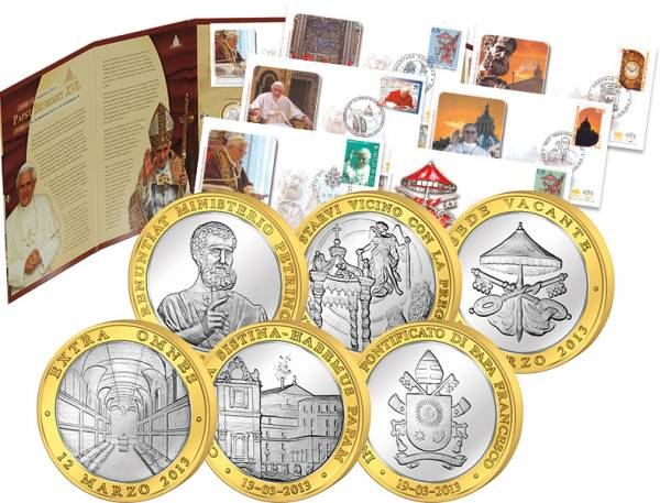 Gedenkmünzen Abschied Und Nachfolge Von Papst Benedikt Xvi Gedenkbrief-set 2013