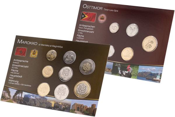 Kursmünzen-Set Osttimor und Marokko