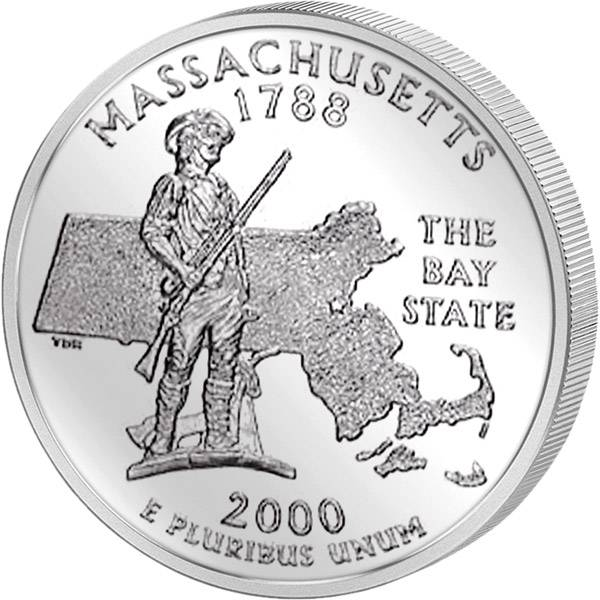 Quarter Dollar USA Massachusetts 2000