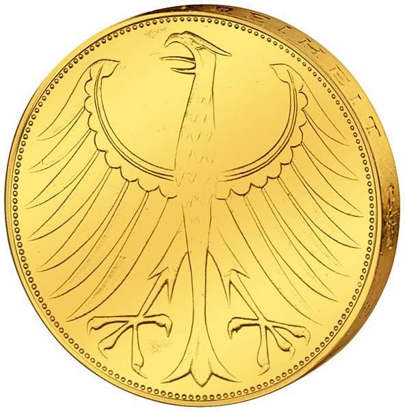 5 DM Münze BRD Silberadler vollvergoldet 1974