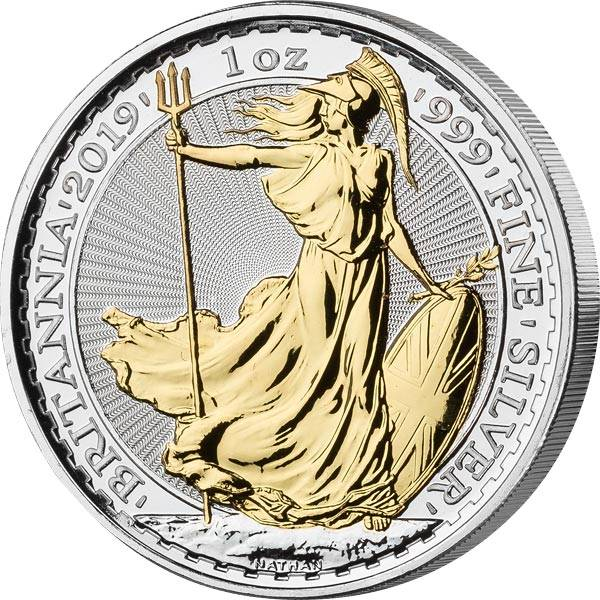 2 Pounds Großbritannien Britannia 2019 mit Gold-Applikation
