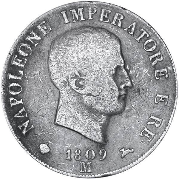 5 Lire Italien Napoleon 1807 - 1814