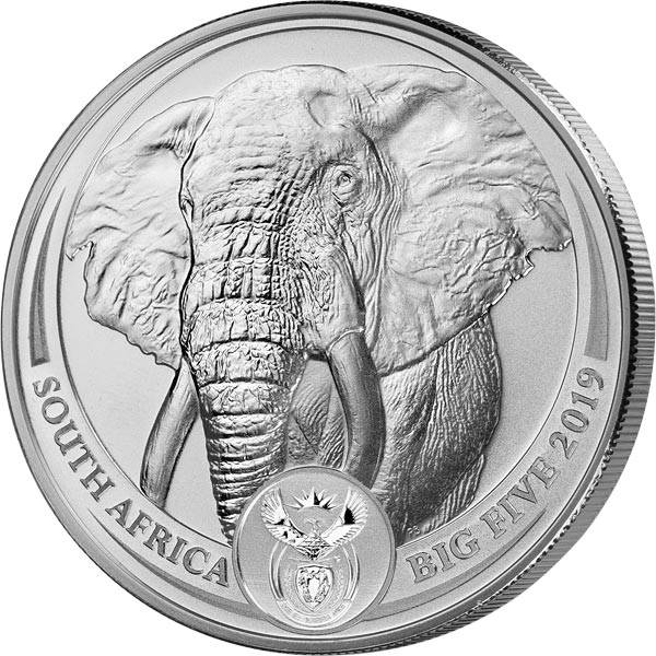 1 Unze Silber Südafrika Big Five Elefant 2019