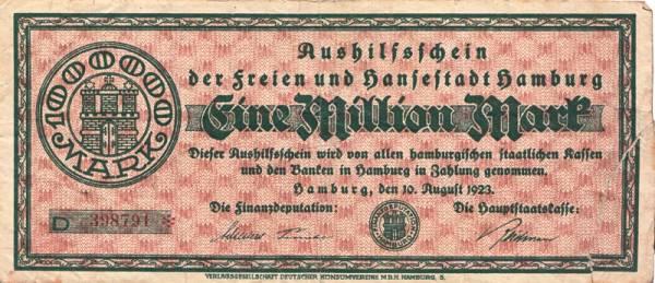 1.000.000 Mark Hansestadt Hamburg 1923