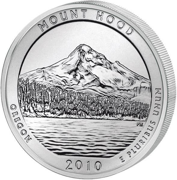 Quarter Dollar USA Oregon Mount Hood 2010