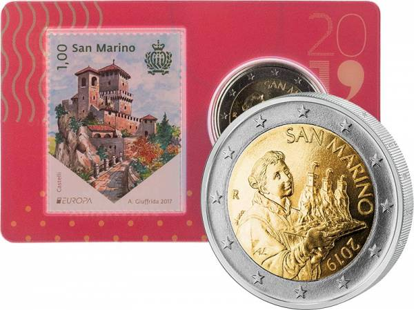 2 Euro San Marino Kursmünze Stamp und Coin Card 2019
