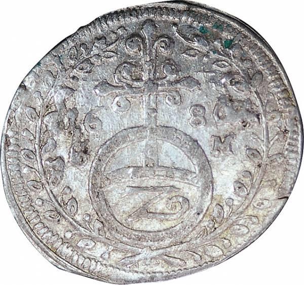 Halbbatzen Hanau-Lichtenberg Graf Friedrich Casimir  1647-1684 sehr schön