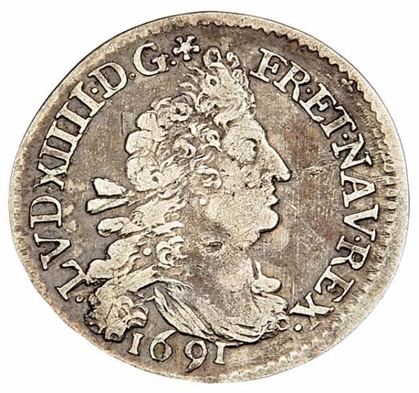 4 Sols Frankreich König Ludwig XIV: 1691-1700