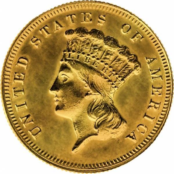 3 Dollars USA Liberty Indian Princess 1854-1889