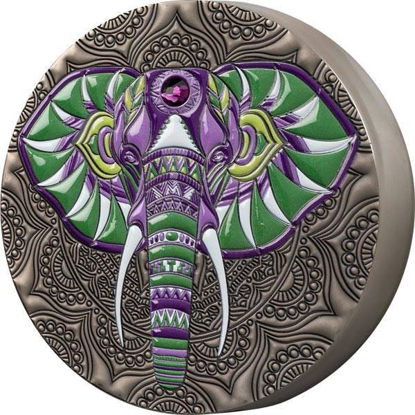 1 Kilo Silber Ghana Mandala Elefant 2021