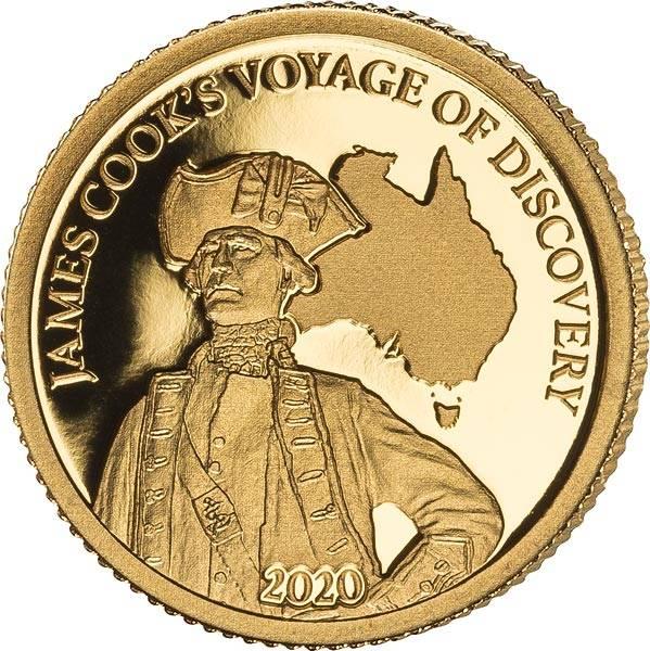 5 Dollars Fidschi 250. Jahr Entdeckung Australiens Gold 2020