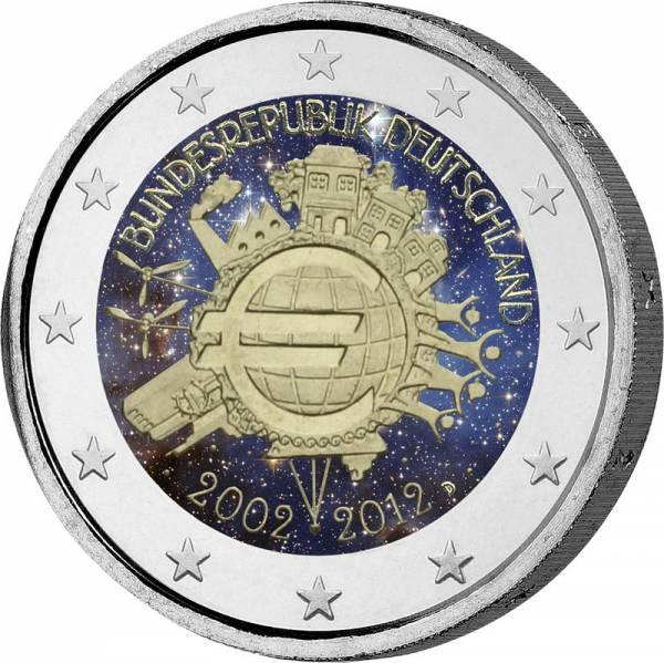 2 Euro BRD 10 Jahre Euro-Bargeld 2012 mit Farb-Applikation