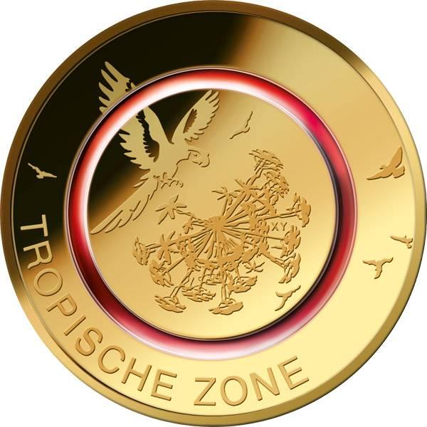 5 Euro BRD Tropische Zone 2017 vollvergoldet