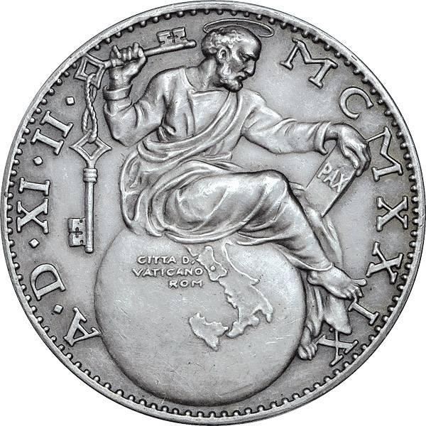 Silbermedaille Vatikan Papst Pius XI. Abschluss der Lateranverträge 1929 vz-pfr