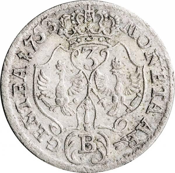 3 Kreuzer Brandenburg-Preußen König Friedrich II. 1752-1756