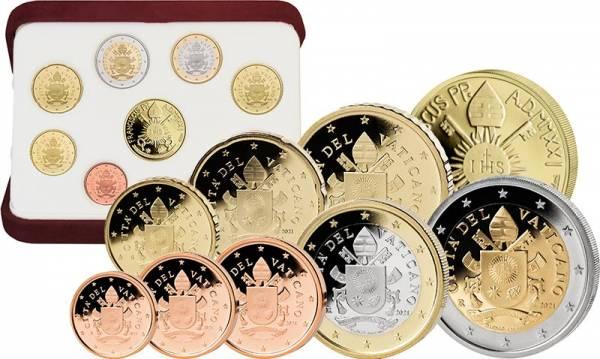 Euro-Kursmünzensatz Vatikan 2021 inklusive 50-Euro-Goldgedenkmünze