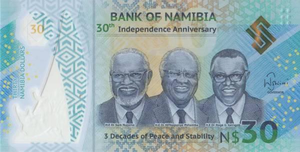 30 Dollars Banknote Namibia 30. Jahrestag der Unabhängigkeit 2020