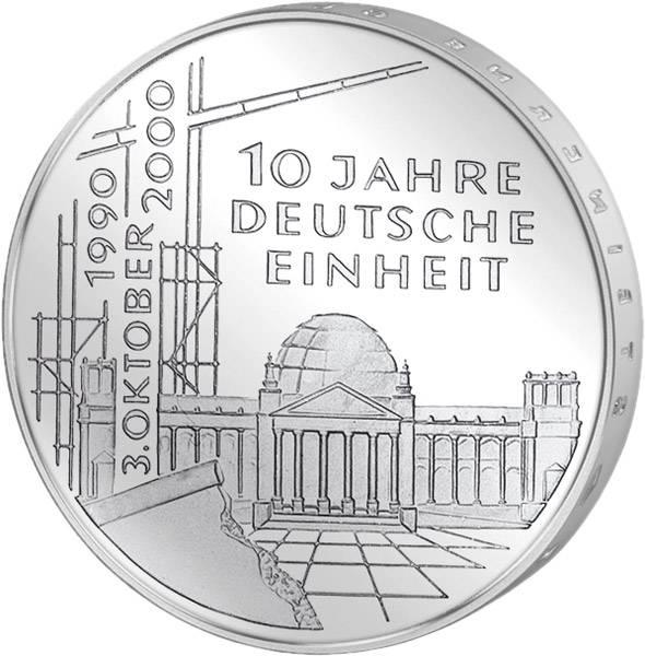10 DM BRD  10 Jahre Deutsche Einheit 2000 Unsere Wahl vorzüglich
