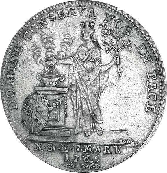 Konventionstaler Freie Reichsstadt Nürnberg  Frieden von Hubertusburg 1765   sehr schön