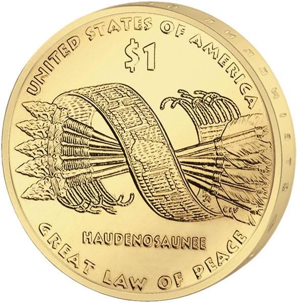 1 Dollar USA Sacagawea Konförderation der Irokesen 2010 Stempelglanz