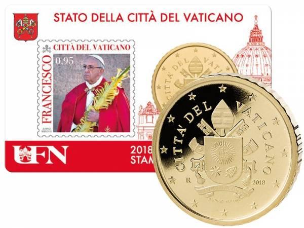 50 Cent Vatikan Stamp und Coincard Papst Franziskus 2018