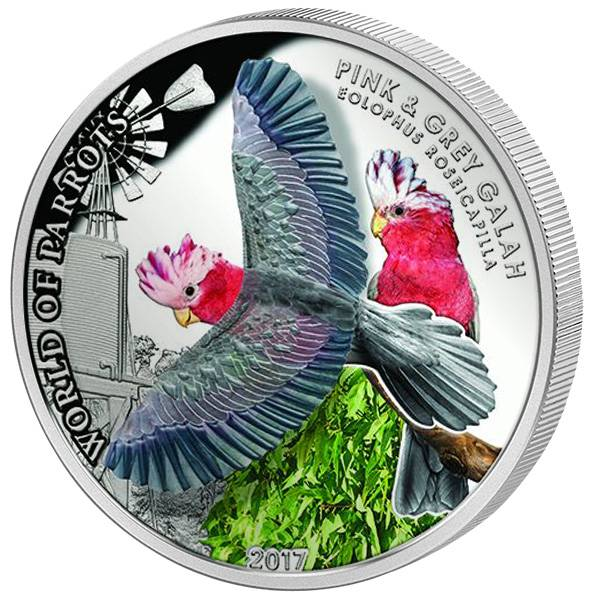 5 Dollars Cook-Inseln World of Parrots Rosa Kakadu 2017
