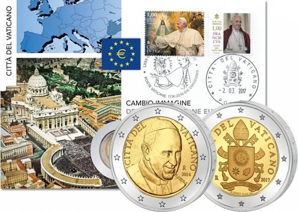 2 x 2 Euro Numisbrief Vatikan Porträt und Wappen Papst Franziskus 2017