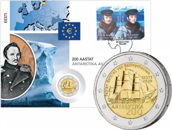 2 Euro Numisbrief Estland 200. Jahrestag der Entdeckung der Antarktis 2020