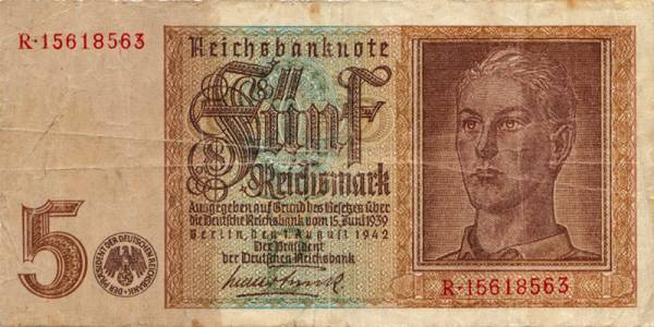 5 RM Drittes Reich Banknote Hitlerjugend 1942