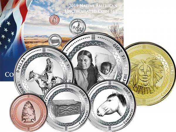 1 Cent - 1 Dollar USA Kursmünzen der Komantschen 2019