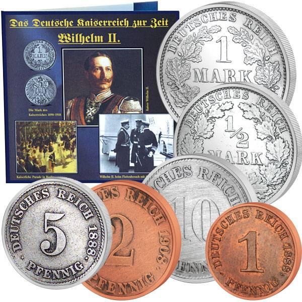 1 Pfennig-1 Mark (6 Werte) Kaiser Wilhelm II. 1890-1919 Sehr schön