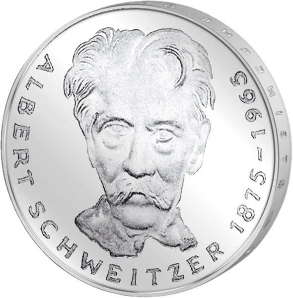 5 DM Münze BRD 100. Geburtstag Albert Schweitzer 1975