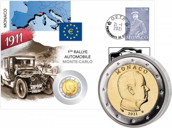 2 Euro Monaco Numisbrief 110 Jahre erste Rallye Monte Carlo 2021