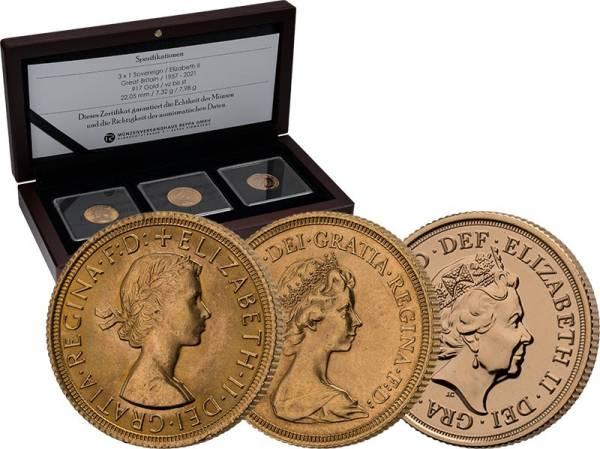 3 x 1 Pound Großbritannien Sovereign Jubilee Collection 95 Jahre Queen Elizabeth II.