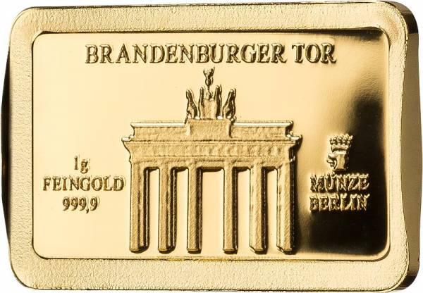 1 Gramm Goldbarren Deutsche Wahrzeichen Brandenburger Tor