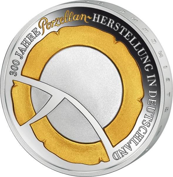 10 Euro BRD 300 Jahre Porzellanherstellung mit Gold-Applikation 2010 Polierte Platte